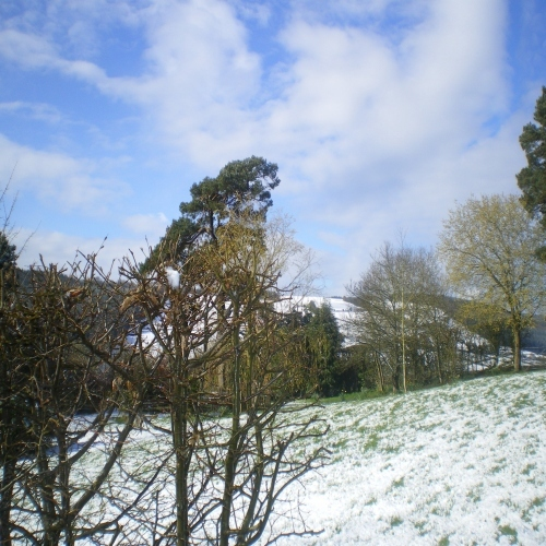Snow in April 2016 at Bryncalled Barns